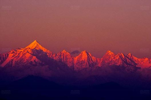 Mountains- Panchchuli Peaks (India) - Pink color Panchchuli Peaks view from Munsyari at Uttarakhand, India.