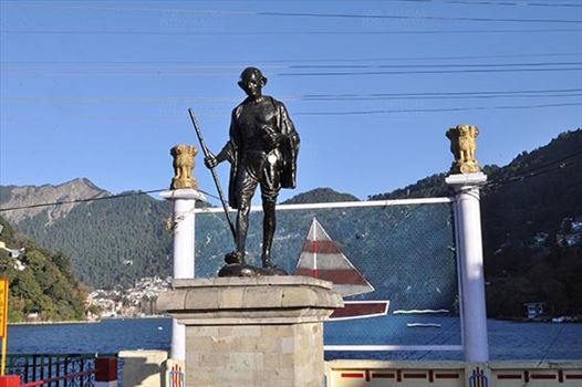 Travel- Nainital (Uttarakhand) - Nainital, Uttarakhand, India- November 11, 2015: Statue of Mahatma Gandhi Father of the Nation at Tallital, Nainital, Uttarakhand, India.