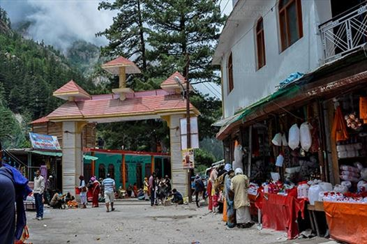 Gangotri, Uttarakhand, India- June 14, 2013: Main Enterence gate of Gangotri town at Gangotri, Uttarkashi, Uttarakhand, India.