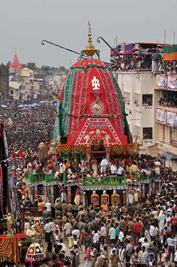 Richly decorated chariot of Lord Balbhadra commemorates the procession from Jagannath temple to Gundicha Temple, for Jagannath Rath Yatra festival at Puri, Odisha, India