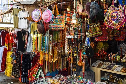 Pushkar, Rajasthan, India- January 16, 2018: Handicraft  and hand made decorated material market at Pushkar, Rajasthan, India.