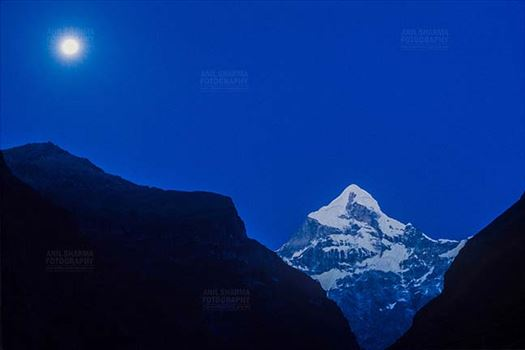 Mountains- Neelkanth Peak (India) - Snow covered Neelkanth Peak on full moon night at Uttarakhand, India.