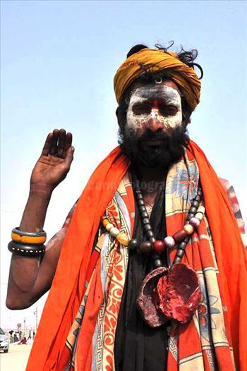 Culture- Aghori Sadhu, Uttar Pradesh (India). - Aghori Sadhu with long hairs, ash on the face, wearing human bones and rudraksha bead at Mahakumbh Allahabad.