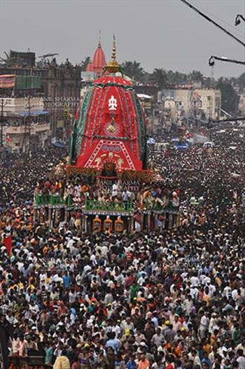 Richly decorated chariot of Lord Balbhadra commemorates the procession from Jagannath temple to Gundicha Temple, for Jagannath Rath Yatra festival at Puri, Odisha, India.