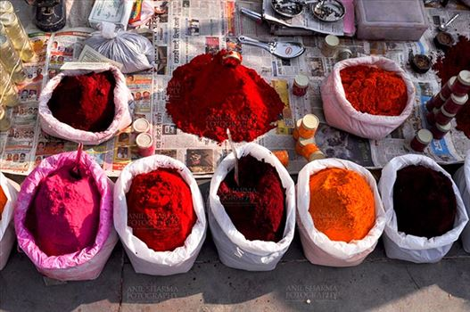 Baneshwar, Dungarpur, Rajasthan, India- February 14, 2011: Scented color powders shop at Baneshwar fair ground Dungarpur, Rajasthan, India